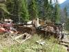 Abtragen einer Rundstamm- Blockhütte am Roß- und Buchstein